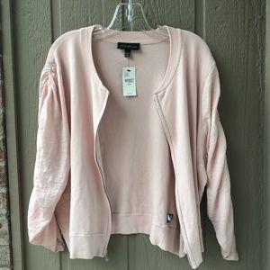 Lane Bryant Plus Cardigan Pink Ruffle sleeves 18